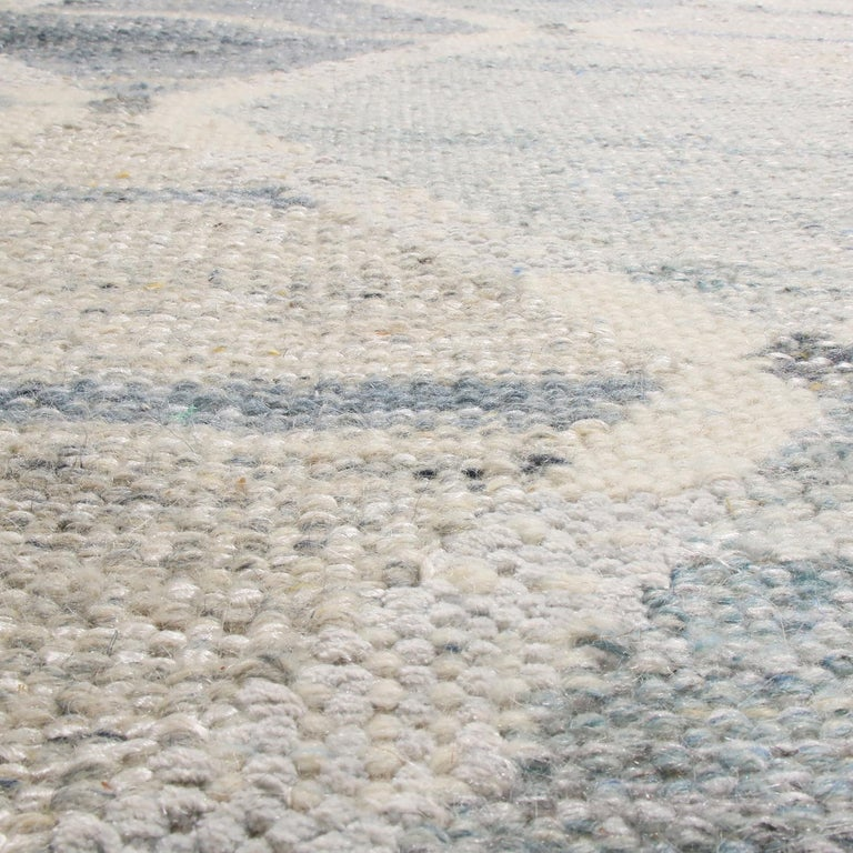 Indian Rug & Kilim's Scandinavian-Inspired Silver-Gray and Blue Wool Kilim Rug For Sale