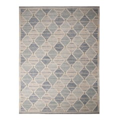 Rug & Kilim's Scandinavian-Inspired Silver-Gray and Blue Wool Kilim Rug