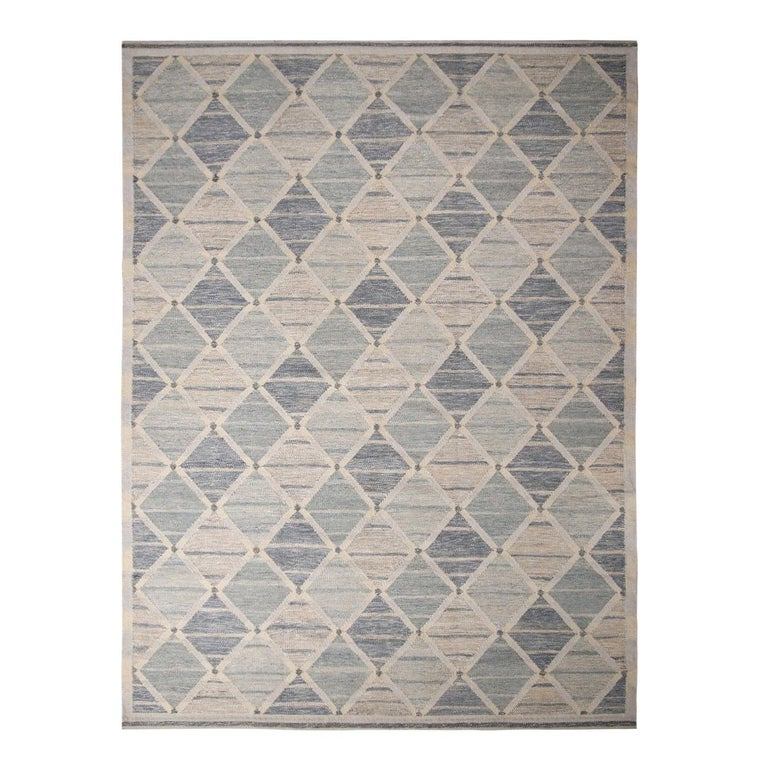 Rug & Kilim's Scandinavian-Inspired Silver-Gray and Blue Wool Kilim Rug For Sale
