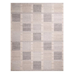 Rug & Kilim's Scandinavian-Inspired Silver-Gray and Cream White Natural Wool Rug