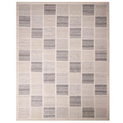 Rug & Kilim's Scandinavian Inspired Silver-Gray and Blue Wool Kilim Rug