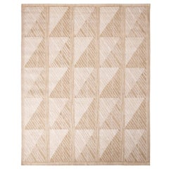 Rug & Kilim's Scandinavian-Inspired Tan Peach and White Natural Wool Rug