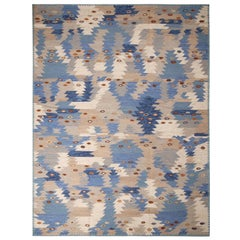 Rug & Kilim's Scandinavian-Inspired Tribal Brown and Blue Wool Pile Rug