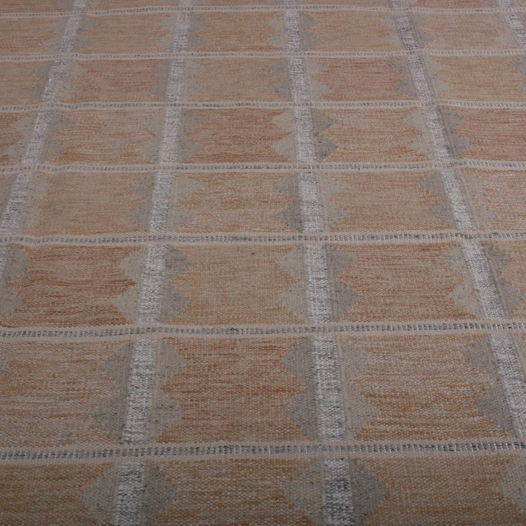 Scandinavian Modern Rug & Kilim's Scandinavian Style Beige Brown and Gray Wool Modern Kilim For Sale