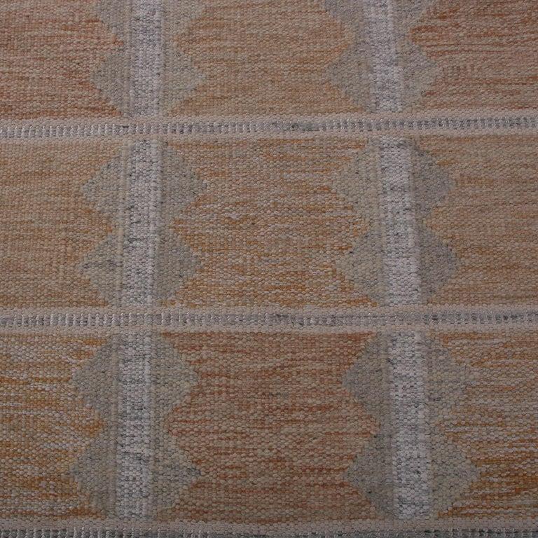 Indian Rug & Kilim's Scandinavian Style Beige Brown and Gray Wool Modern Kilim For Sale
