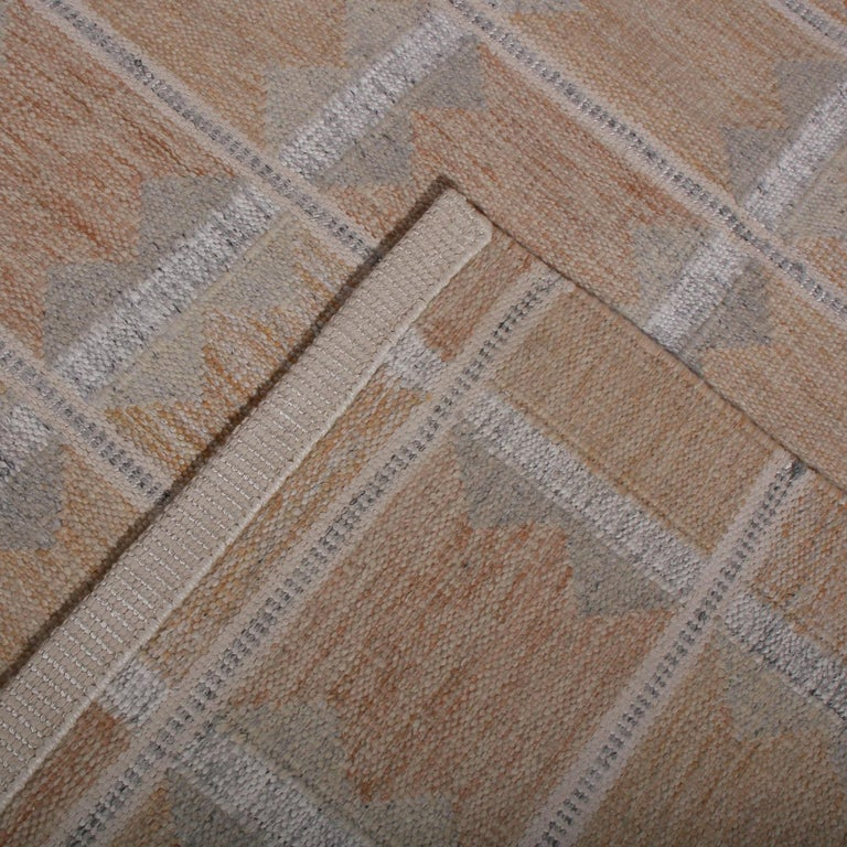 Hand-Knotted Rug & Kilim's Scandinavian Style Beige Brown and Gray Wool Modern Kilim For Sale