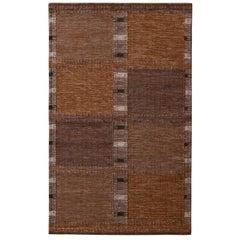 Rug & Kilim's Scandinavian Style Beige Brown and Gray Wool Modern Kilim