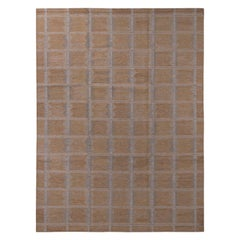 Rug & Kilim's Scandinavian Style Beige Brown and Gray Wool Modern Kilim