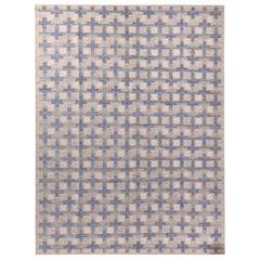 Rug & Kilim's Scandinavian Style Geometric Beige and Blue Wool Modern Kilim Rug
