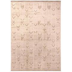 Rug & Kilim's Scandinavian Style Geometric Beige and Gray Wool Pile Rug