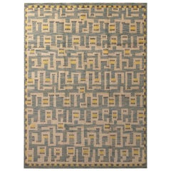 Rug & Kilim's Scandinavian Style Geometric Beige Blue and Yellow Custom Rug