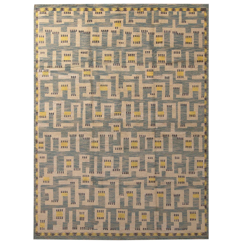 Rug & Kilim's Scandinavian Style Geometric Beige Blue and Yellow Wool Pile Rug