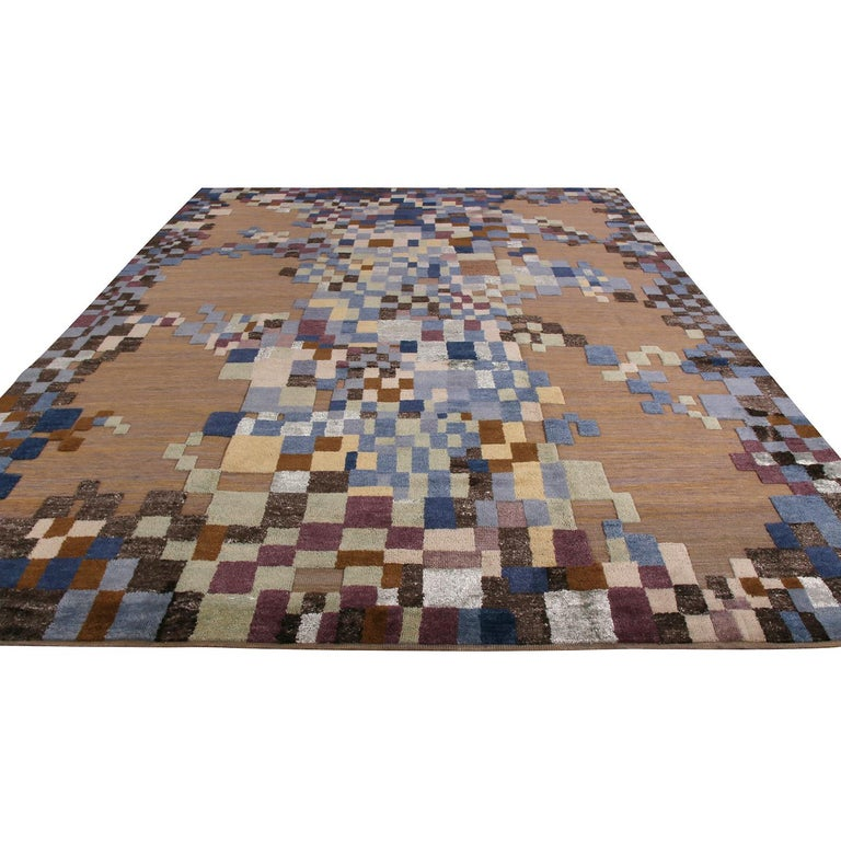 Hand knotted in texturally soft, inviting wool, this modern 9 x 12 rug hails from the latest additions to Rug & Kilim's Scandinavian Collection, a celebration of Swedish modernism with new large-scale geometry and exciting vintage colorways like