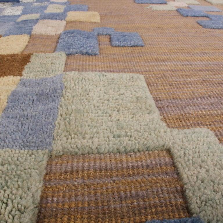 Scandinavian Modern Rug & Kilim's Scandinavian Style Geometric Beige Brown and Blue Wool Rug For Sale