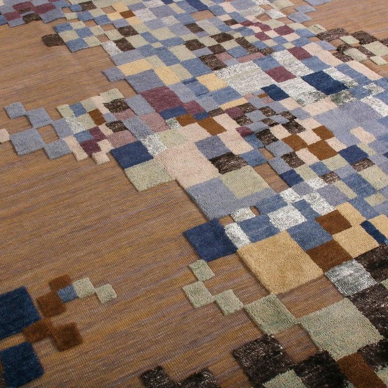 Indian Rug & Kilim's Scandinavian Style Geometric Beige Brown and Blue Wool Rug For Sale