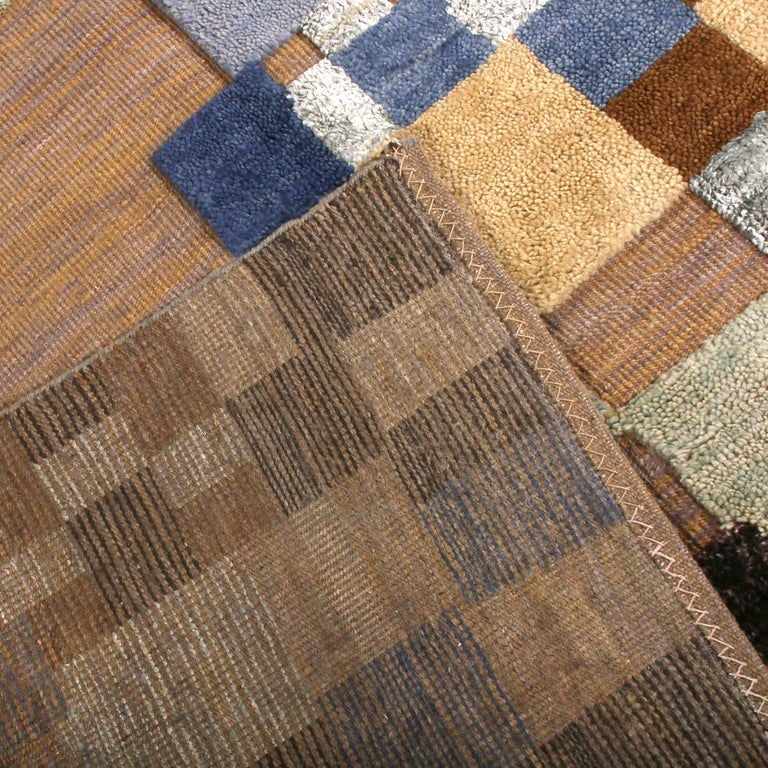 Hand-Knotted Rug & Kilim's Scandinavian Style Geometric Beige Brown and Blue Wool Rug For Sale