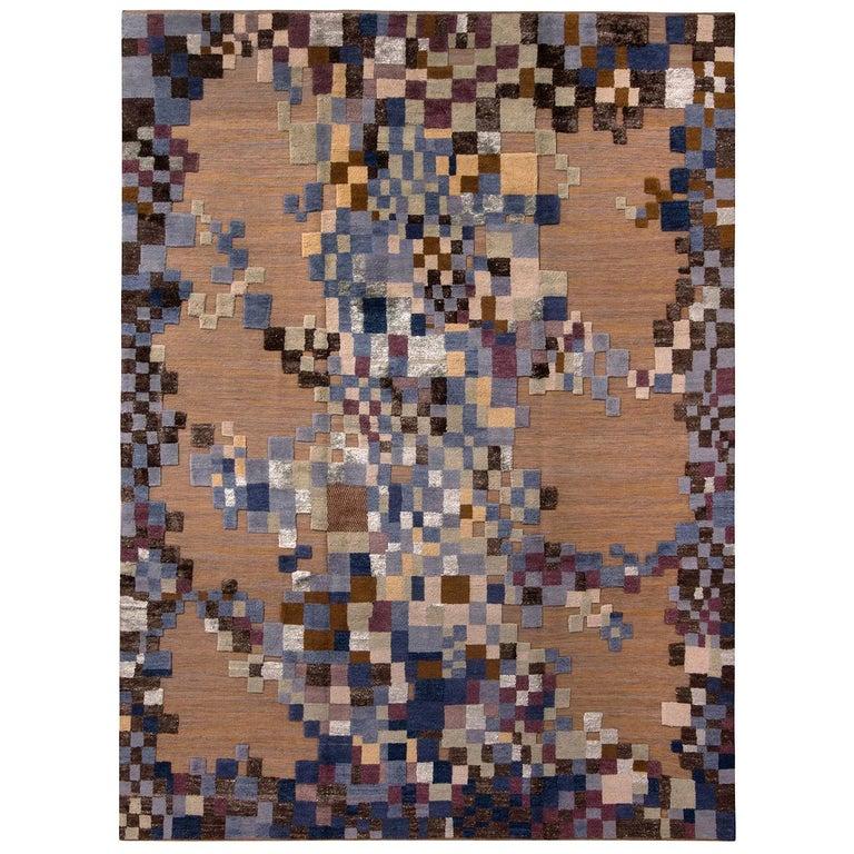Rug & Kilim's Scandinavian Style Geometric Beige Brown and Blue Wool Rug For Sale
