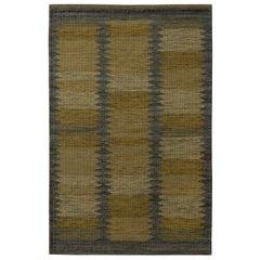 Rug & Kilim's Scandinavian Style Geometric Beige Brown and Green Wool Kilim