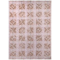 Rug & Kilim's Scandinavian Style Geometric Beige Brown and White Wool Kilim Rug