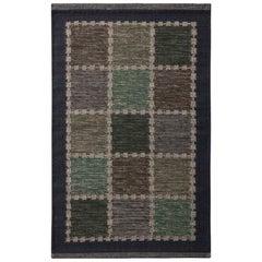 Rug & Kilim's Scandinavian Style Geometric Beige-Brown Gray and Blue Wool Kilim