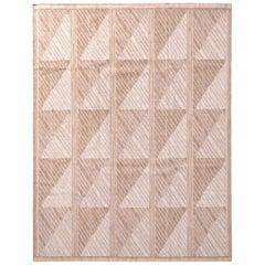 Rug & Kilim's Scandinavian Style Geometric Beige Brown Wool Kilim Rug
