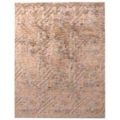 Rug & Kilim's Scandinavian Style Geometric Beige Brown Wool Pile Rug