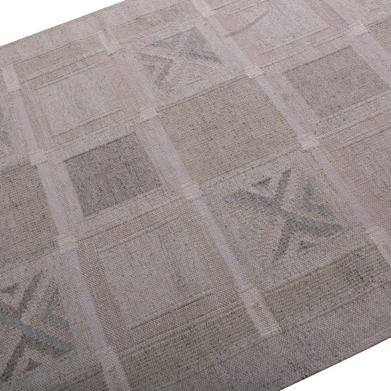 Indian Rug & Kilim's Scandinavian Style Geometric Beige Cream and Gray Wool Kilim
