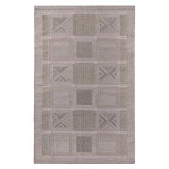 Rug & Kilim's Scandinavian Style Geometric Beige Cream and Gray Wool Kilim