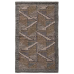 Rug & Kilim's Scandinavian Style Geometric Beige Gray and Blue Wool Kilim
