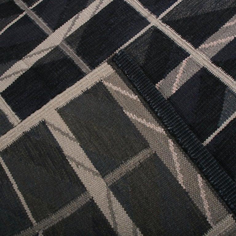 Hand-Woven Rug & Kilim's Scandinavian Style Geometric Blue and Beige-Brown Wool Kilim Rug For Sale