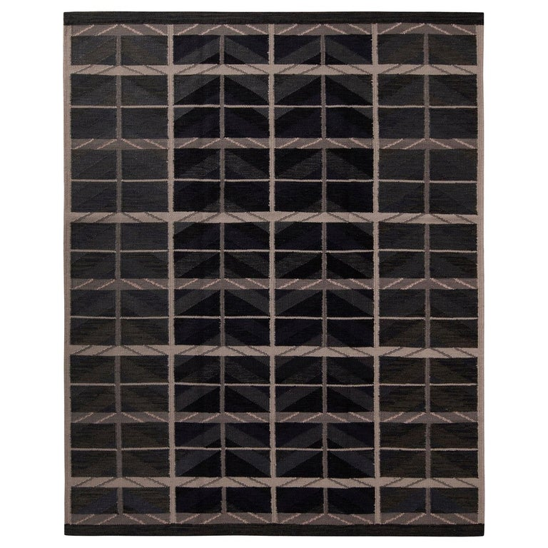 Rug & Kilim's Scandinavian Style Geometric Blue and Beige-Brown Wool Kilim Rug For Sale