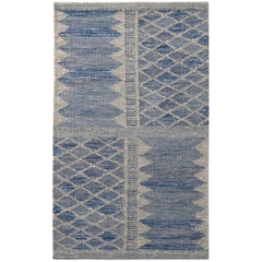 Rug & Kilim's Scandinavian Style Geometric Blue and Gray Wool Kilim Rug