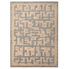 Rug & Kilim's Scandinavian Style Geometric Cream and Blue Wool Pile Rug