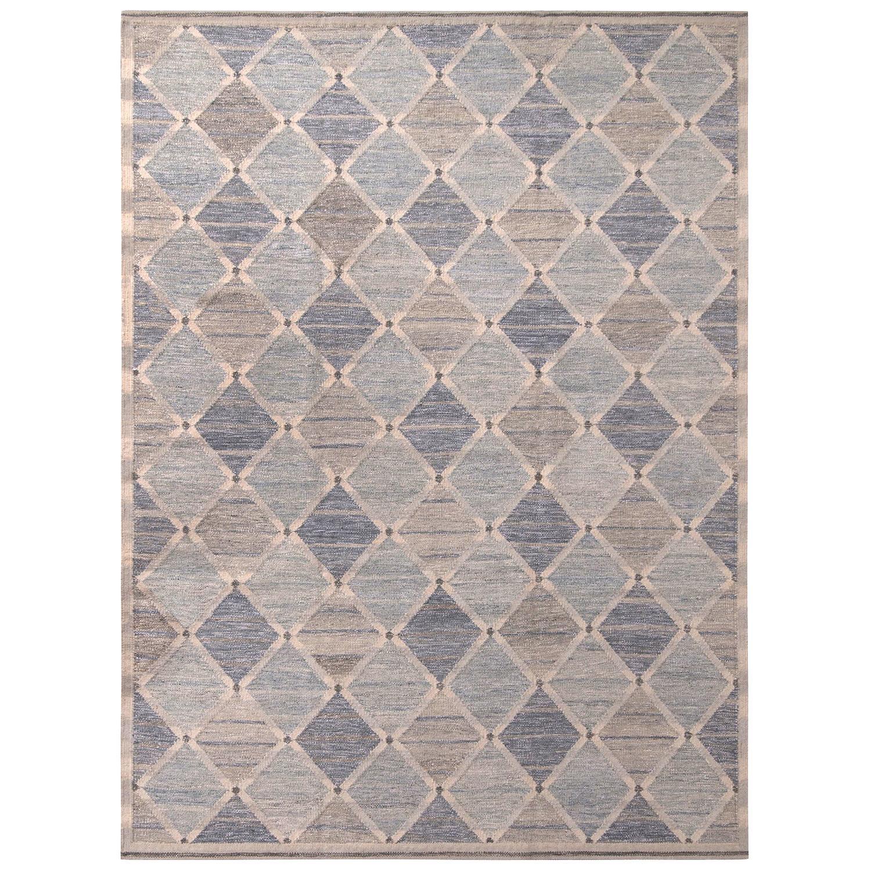 Rug & Kilim's Scandinavian Style Geometric Diamond Gray and Blue Wool Kilim