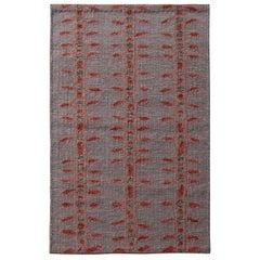 Rug & Kilim's Scandinavian Style Geometric Floral Gray and Red Wool Kilim Rug