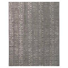Rug & Kilim's Scandinavian Style Geometric Floral Silver Gray Wool Kilim