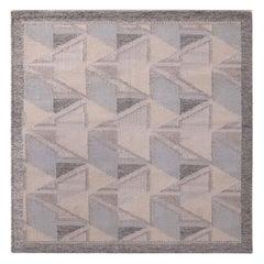 Rug & Kilim's Scandinavian Style Geometric Gray and Blue Wool Square Kilim