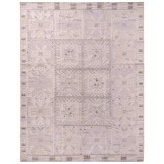 Rug & Kilim's Scandinavian Style Geometric Gray Wool Kilim Rug