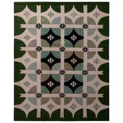 Rug & Kilim's Scandinavian Style Geometric Green and White Wool Kilim Rug