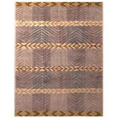 Rug & Kilim's Scandinavian Style Geometric Purple and Beige Brown Wool Pile Rug