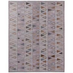 Rug & Kilim's Scandinavian Style Geometric Purple and Blue Wool Kilim Rug