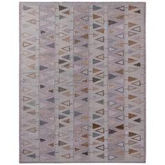 Rug & Kilim's Scandinavian Style Geometric Purple and Blue Wool Kilim Rug