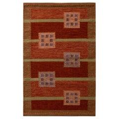 Rug & Kilim's Scandinavian Style Geometric Red Orange and Green Wool Kilim