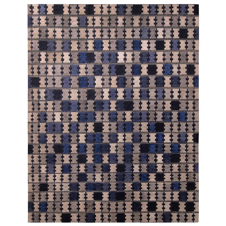 Rug & Kilim's Scandinavian Style Geometric Silver Gray and Blue Wool Pile Rug