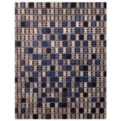 Rug & Kilim's Scandinavian Style Geometric Silver Gray and Blue Wool Pile Rug