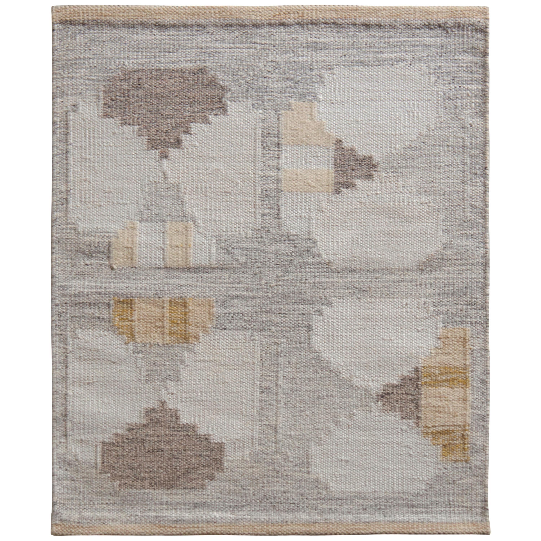 Rug & Kilim's Scandinavian Style Kilim, Accent Rug in Gray Geometric Pattern