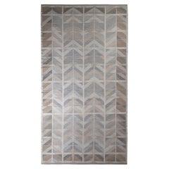 Rug & Kilim's Scandinavian Style Kilim in Gray and Beige-Brown Chevron Pattern