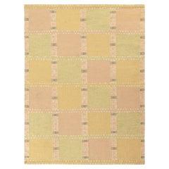 Rug & Kilim's Scandinavian Style Kilim Rug Green, Yellow, Pink Geometric Pattern