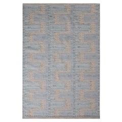 Rug & Kilim's Scandinavian Style Kilim Rug in Blue and White Geometric Pattern