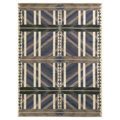 Rug & Kilim's Scandinavian Style Kilim Rug in Blue, Beige-Brown Geometric Patter